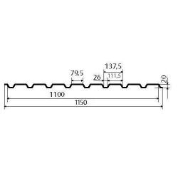профнастил (профлист) с20 0,45 1,5*1,2 ral 5005 ав